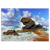 Carreg Bica in crushing waves