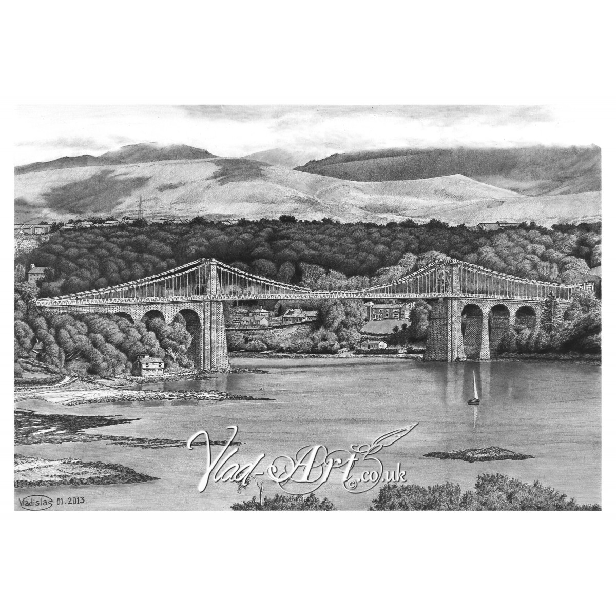Menai bridge from anglesey description reviews 0 this exceptional pencil drawing